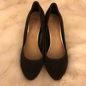 Jessica Simpson Brown Suede wedge pumps size 9